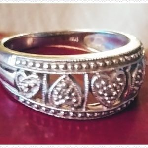 10 K Vintage looking silver and gold ring